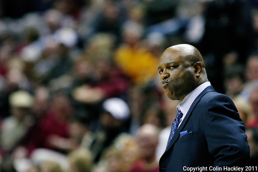 TALLAHASSEE, FL /1/22/11-FSU-BC MBB11 CH-Florida State Head Coach Leonard Hamilton reacts to a call during the Boston College game Saturday at the Donald L. Tucker Center in Tallahassee. The Seminoles beat the Eagles 67-51..COLIN HACKLEY PHOTO