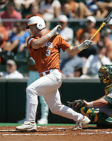 University of Texas Freshman Catcher Cameron Rupp (3) follows through against Baylor on May 3rd, 2008. Photo by Andrew Woolley / Four Seam Images.