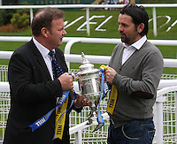 Former Rangers hero Derek Johnstone with Alloa Athletic manager Paul Hartley after both teams were drawn together. Scottish FA President Campbell Ogilvie joined by former Rangers and Scotland striker Derek Johnstone and Kristof Fahy, Chief Marketing Officer at William Hill, in conducting the draw for Round 3 of the William Hill Scottish Cup which took place at Hamilton Park Racecourse on 1.10.12