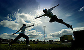 Launch of the UK Youth Games, to be held in Glasgow in September - pic shows fencers Alison Timmins (left) (15) and Tony Duffy (17), both from Dunfermline. Launch was at Scotstoun Stadium, Glasgow.... Picture by Donald MacLeod 30.5.06