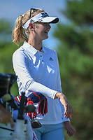 Jessica Korda (USA) shares a laugh on the 3rd tee during round 1 of the 2018 KPMG Women's PGA Championship, Kemper Lakes Golf Club, at Kildeer, Illinois, USA. 6/28/2018.<br /> Picture: Golffile | Ken Murray<br /> <br /> All photo usage must carry mandatory copyright credit (&copy; Golffile | Ken Murray)