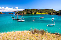 Sailing boats in the Waikare Inlet, Bay of Islands, visited from Russell, Northland Region, North Island, New Zealand