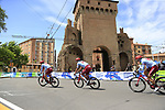 Team Katusha Alpecin riders head out for a practice run before Stage 1 of the 2019 Giro d'Italia, an individual time trial running 8km from Bologna to the Sanctuary of San Luca, Bologna, Italy. 11th May 2019.<br /> Picture: Eoin Clarke | Cyclefile<br /> <br /> All photos usage must carry mandatory copyright credit (© Cyclefile | Eoin Clarke)