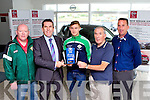 David Randles and Weeshie Fogarty  presents Kerry star James O'Donoghue the Radio Kerry Sports star of the month award in Randles Garage Killarney on Tuesday l-r: Jimmy Reen Legion Chairman, David Randles Nissan Randles, James O'Donoghue, Weeshie Fogarty Radio Kerry and Enda Walsh Legion vice Chairman