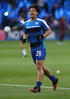 Leicester City's Shinji Okazaki during the pre-match warm-up <br /> <br /> Photographer Stephen White/CameraSport<br /> <br /> UEFA Champions League Quarter Final Second Leg - Leicester City v Atletico Madrid - Tuesday 18th April 2017 - King Power Stadium - Leicester <br />  <br /> World Copyright &copy; 2017 CameraSport. All rights reserved. 43 Linden Ave. Countesthorpe. Leicester. England. LE8 5PG - Tel: +44 (0) 116 277 4147 - admin@camerasport.com - www.camerasport.com