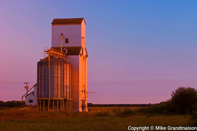 Grain elevator at sunset<br /> Netley<br /> Manitoba<br /> Canada
