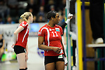 Rüsselsheim, Germany, April 13: Liana Mesa Luaces #11 of the Rote Raben Vilsbiburg looks on during play off Game 1 in the best of three series in the semifinal of the DVL (Deutsche Volleyball-Bundesliga Damen) season 2013/2014 between the VC Wiesbaden and the Rote Raben Vilsbiburg on April 13, 2014 at Grosssporthalle in Rüsselsheim, Germany. Final score 0:3 (Photo by Dirk Markgraf / www.265-images.com) *** Local caption ***
