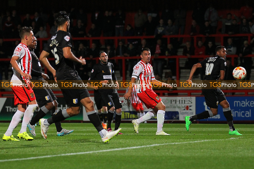 Brett Williams of Stevenage goes close to a goal during Stevenage vs Mansfield Town, Sky Bet League 2 Football at the Lamex Stadium, Stevenage, England on 29/09/2015