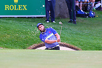 Andrew Johnston chips out of a bunker on the 18th green during the BMW PGA Golf Championship at Wentworth Golf Course, Wentworth Drive, Virginia Water, England on 28 May 2017. Photo by Steve McCarthy/PRiME Media Images.