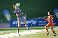 Nikki Krzysik (15) of the Philadelphia Independence heads the ball. The Philadelphia Independence defeated Sky Blue FC 2-1 during a Women's Professional Soccer (WPS) match at John A. Farrell Stadium in West Chester, PA, on June 6, 2010.