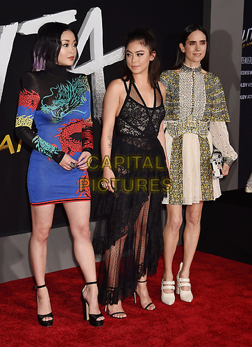 WESTWOOD, CA - FEBRUARY 05: (L-R) Lana Condor, Rosa Salazar and Jennifer Connelly attend the Premiere Of 20th Century Fox's 'Alita: Battle Angel' at Westwood Regency Theater on February 05, 2019 in Los Angeles, California.<br /> CAP/ROT/TM<br /> ©TM/ROT/Capital Pictures