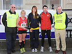 Winner Paul Smith, first lady home Nuala Reilly, Amy McTeggart Drogheda Independent sportstar of the year, SVP representatives Brian Lambe and Michael Grogan  pictured at the Saint Vincent de Paul sponsored 5Km run. Photo: Colin Bell/pressphotos.ie