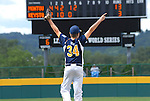 Montoursville's  pitcher celebrates after the final out for a Little League District 12 Majors Championship at Volunteer Stadium.