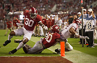 Hawgs Illustrated/BEN GOFF <br /> Mack Wilson (30) and Joshua McMillon (40), Alabama linebackers, force Chase Hayden, Arkansas running back, out of bounds just short of the goal line in the fourth quarter Saturday, Oct. 14, 2017, at Bryant-Denny Stadium in Tuscaloosa, Ala.