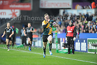 Northampton Saints George North running in for his sides first try. Liberty Stadium, Swansea, South Wales 12.01.14. Ospreys v Northampton Heineken Cup round 5 pool 1 - pIc credit Jeff Thomas photography