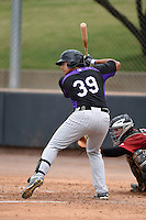 Colorado Rockies catcher Jose Briceno (39) during an Instructional League game against the Arizona Diamondbacks on October 8, 2014 at Salt River Fields at Talking Stick in Scottsdale, Arizona.  (Mike Janes/Four Seam Images)
