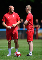 Lincoln United manager Sam Wilkinson, left, and Lincoln United's physio Luke Treadwell during the pre-match warm-up <br /> <br /> Photographer Chris Vaughan/CameraSport<br /> <br /> Football - Pre-Season Friendly - Lincoln United v Lincoln City - Saturday 8th July 2017 - Sun Hat Villas Stadium - Lincoln<br /> <br /> World Copyright &copy; 2017 CameraSport. All rights reserved. 43 Linden Ave. Countesthorpe. Leicester. England. LE8 5PG - Tel: +44 (0) 116 277 4147 - admin@camerasport.com - www.camerasport.com