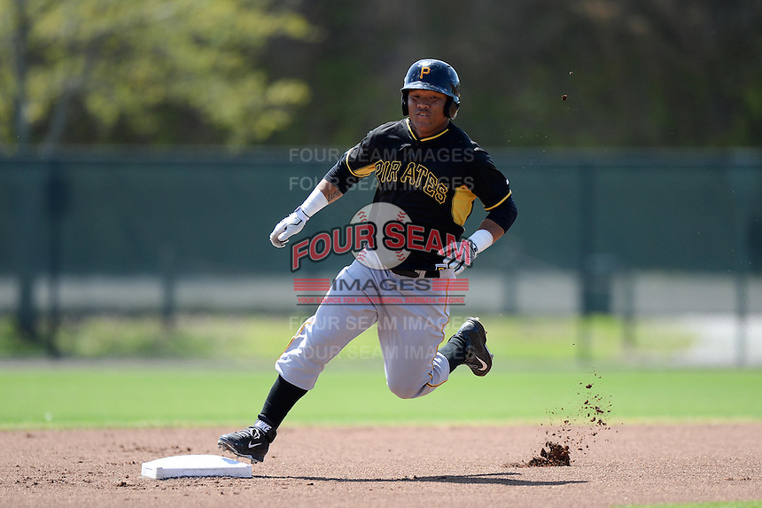 Pittsburgh Pirates outfielder Harold Ramirez (88) during a minor league spring training game against the Philadelphia Phillies on March 18, 2014 at the Carpenter Complex in Clearwater, Florida.  (Mike Janes/Four Seam Images)