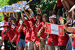 A guide troop wait for the race to pass by during Stage 14 of the 2018 Tour de France running 188km from Saint-Paul-Trois-Chateaux to Mende, France. 21st July 2018. <br /> Picture: ASO/Pauline Ballet | Cyclefile<br /> All photos usage must carry mandatory copyright credit (&copy; Cyclefile | ASO/Pauline Ballet)