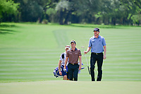 Jimmy Walker (USA) and Luke Donald (GBR) approach the 8th green during round 2 of the Valero Texas Open, AT&amp;T Oaks Course, TPC San Antonio, San Antonio, Texas, USA. 4/21/2017.<br /> Picture: Golffile | Ken Murray<br /> <br /> <br /> All photo usage must carry mandatory copyright credit (&copy; Golffile | Ken Murray)