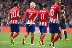 Atletico de Madrid's Juanfran Torres, Antoine Griezmann and Angel Martin Correa during UEFA Champions League match between Atletico de Madrid and Chelsea at Wanda Metropolitano in Madrid, Spain September 27, 2017. (ALTERPHOTOS/Borja B.Hojas)