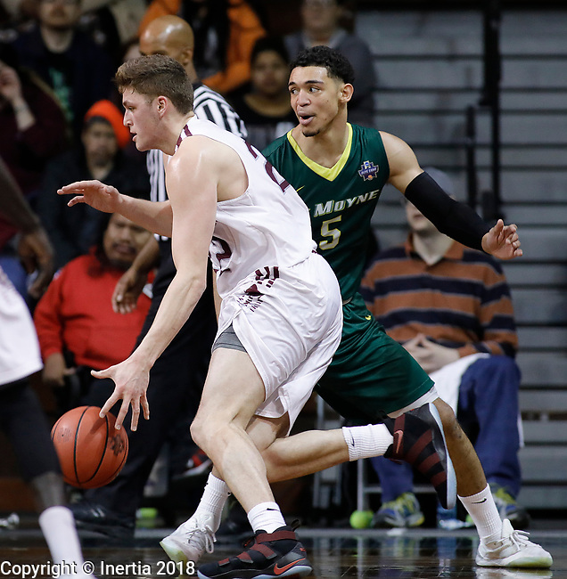 SIOUX FALLS, SD: MARCH 20:  Ryan Quaid #22 of West Texas A&M drives toward Isaiah Eisendorf #5 of Le Moyne during their game at the 2018 Division II Men's Elite 8 Basketball Championship at the Sanford Pentagon in Sioux Falls, S.D. (Photo by Dick Carlson/Inertia)