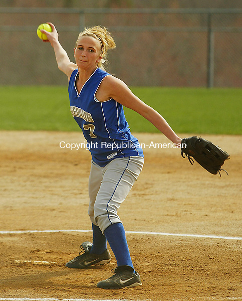 BURLINGTON, CT 4/26/07- 042607BZ08- Shepaug's Eleanor Curren (7) pitches against Lewis Mills.<br /> Jamison C. Bazinet Republican-American