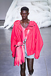 Model walks runway in an outfit from the Feng Chen Wang Spring Summer 2019 collection in Industria Superstudio in New York City on July 10, 2018; during New York Fashion Week: Men's Spring Summer 2019.