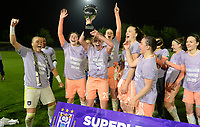 20190430 - OOSTAKKER , BELGIUM : Anderlecht's players with Justien Odeurs , Oceane Daniel , Charlotte Tison , Britt Vanhamel and Tine De Caigny and staff pictured celebrating after winning the Superleague Championship after a womensoccer game between  AA Gent Ladies and RSC Anderlecht Dames  , during play-off 1 in the Belgian Women's Superleague, at the PGB Stadium in Oostakker , tuesday 30 th April 2019 . PHOTO SPORTPIX.BE | DAVID CATRY