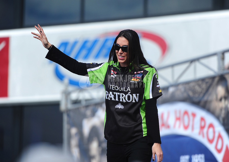 Nov. 13, 2011; Pomona, CA, USA; NHRA funny car driver Alexis DeJoria during the Auto Club Finals at Auto Club Raceway at Pomona. Mandatory Credit: Mark J. Rebilas-.