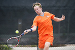 April 25, 2014; San Diego, CA, USA; Pepperdine Waves player Tom Hill during the WCC Tennis Championships at Barnes Tennis Center.