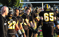 The Madison Mustangs top the Fond du Lac Crusaders 77-0 in the first round of the Ironman Football League playoffs on Saturday, August 22, 2009 at Breitenbach Stadium in Middleton, Wisconsin