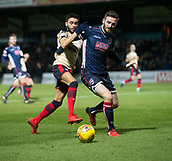 2nd December 2017, Global Energy Stadium, Dingwall, Scotland; Scottish Premiership football, Ross County versus Dundee; Ross County's Jason Naismith hods off Dundee's Faissal El Bakhtaoui