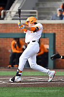 University of Tennessee Jordan Beck (27) swings at a pitch during a game against Western Illinois at Lindsey Nelson Stadium on February 15, 2020 in Knoxville, Tennessee. The Volunteers defeated Leathernecks 19-0. (Tony Farlow/Four Seam Images)