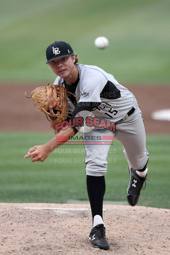 Ryan Strufing #15 of the Long Beach St. 49'ers pitches against the Cal. St. Fullerton Titans at Goodwin Field in Fullerton,California on May 14, 2011. Photo by Larry Goren/Four Seam Images