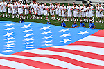 30 MAY 2016: The unveiling of the American flag is seen during the Division 1 Men's Lacrosse Championship between the University of Maryland and the University of North Carolina at Lincoln Financial Field in Philadelphia, PA. Larry French/NCAA Photos
