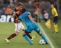Calcio, Champions League, Gruppo E: Roma vs Barcellona. Roma, stadio Olimpico, 16 settembre 2015.<br /> FC Barcelona&rsquo;s Sergi Roberto, right, is challenged by Roma&rsquo;s Lucas Digne during a Champions League, Group E football match between Roma and FC Barcelona, at Rome's Olympic stadium, 16 September 2015.<br /> UPDATE IMAGES PRESS/Isabella Bonotto