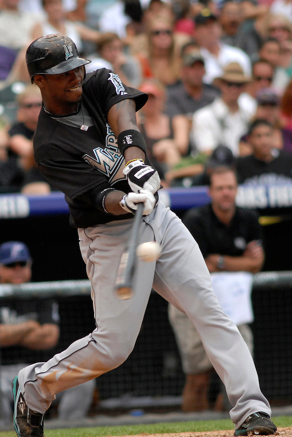 06 July 08: Florida Marlins shortstio Hanley Ramirez at bat against the Colorado Rockies. The Marlins defeated the Rockies 10-5 at Coors Field in Denver, Colorado. FOR EDITORIAL USE ONLY. FOR EDITORIAL USE ONLY