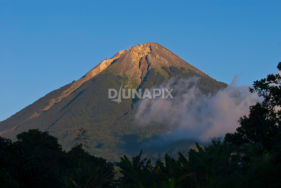 Late afternoon view the active volcano Mount Ebu Lobo, near Bajawa, Flores