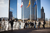The Baras Collective rallies in front of the Bagnolet Town Hall today as they continue to fight an expulsion from 72 René Alazard in Bagnolet, suburb of Paris, France. Jan. 31, 2015.