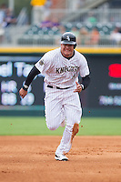 Avisail Garcia (43) of the Charlotte Knights hustles towards third base against the Pawtucket Red Sox at BB&T Ballpark on August 8, 2014 in Charlotte, North Carolina.  The Red Sox defeated the Knights  11-8.  (Brian Westerholt/Four Seam Images)