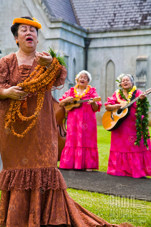 Lei Queen singing for the annual Lei Day celebration