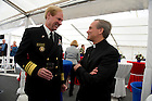 September 1, 2012; Superintendent Mike Miller chats with Rev. John I. Jenkins, C.S.C., during a reception aboard the Ft. McHenry Ship prior to the Emerald Isle Classic against Navy in Dublin, Ireland. Photo by Barbara Johnston/University of Notre Dame