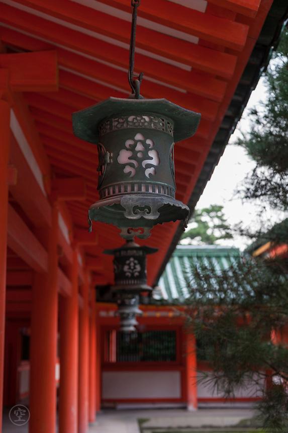 Lanterns on the Byakko-rou side of the Heian Jingu Shrine, Kyoto, Japan.