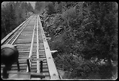 View through Goose windshield of trestle deck near Ames.  This may be Bridge 43-A.<br /> RGS  Ames, CO  ca. 1944