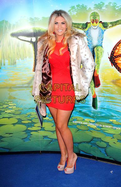 Frankie Essex.'Cirque Du Soleil: Totem' UK Premiere, Royal Albert Hall, London, England..5th January 2012.full length red dress  white fur jacket.CAP/ROS.©Steve Ross/Capital Pictures