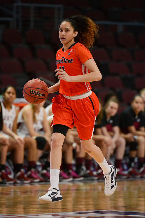March 6, 2014; Las Vegas, NV, USA; Pepperdine Waves guard Ea Shoushtari (11) dribbles against the Santa Clara Broncos during the second half of the WCC Basketball Championships at Orleans Arena. The Waves defeated the Broncos 80-74.