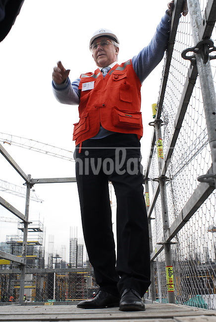 Horst Paulmann at the construction site of Costanera Norte in Santiago de Chile, which is going to be the tallest building in Latin America with 350 meters. The building, including shopping centers, cinemas and restaurants, is being built by Paulmann own financial resources.