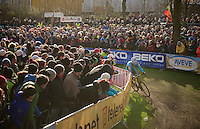 Sven Nys (BEL) leading the race with thick crowds cheering him on<br /> <br /> 2014 UCI cyclo-cross World Championships, Elite Men