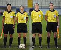 20190227 - LARNACA , CYPRUS : German assistant referee Katrin Rafalski , German referee Riem Hussein , Welsh referee Cheryl Foster , Scottish assistant referee Kylie Cockburn pictured during a women's soccer game between Thailand and Hungary , on Wednesday 27 February 2019 at the Antonis Papadopoulos Stadium in Larnaca , Cyprus . This is the first game in group B for both teams during the Cyprus Womens Cup 2019 , a prestigious women soccer tournament as a preparation on the FIFA Women's World Cup 2019 in France and the Uefa Women's Euro 2021 qualification duels. PHOTO SPORTPIX.BE | STIJN AUDOOREN